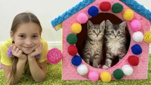 Sofia and funny pets kittens and dog in her house