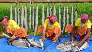How Grandpa Cook Needlefish Of Sea? Kakila Fish Cutting & Cooking For Old Age Special people