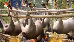 Cooking Whole Goat with 100 Kinds of Vegetables – Korko 4 Whole Goat for Donation Food in Village
