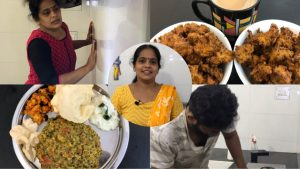 Kitchen Cleaning And Cooking Vlog/Mulakeerai Dal Rice/Cauliflower Onion Pakoda